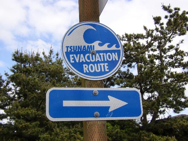 tsunami evacuation sign in of tsunami just follow