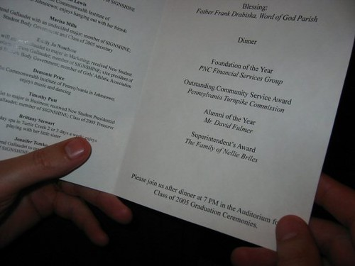Dinner Program Pre-graduation Dinner Program
