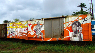 100 festival-de-las-artes - Painting on Train Car - Semi-abandoned train yard in Puerto Limon (Costa Rica) | by loupiote (Old Skool) pro