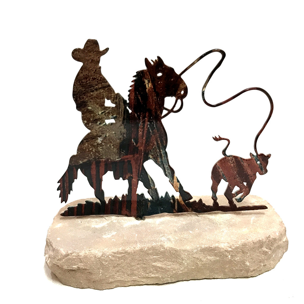 Western Home Decor Metal Cowboy Roper Horse Paperweight Ebay