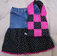 Girls Denim and Black Dot Ruffle Skirt and Tote | by artsmith_satx