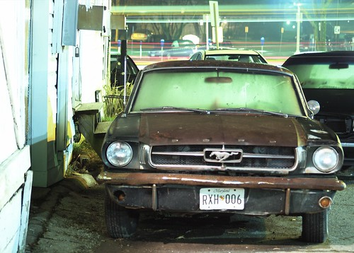Rusted Mustang Parked In Selway Lane At Night (Silver Spring, MD) | by takomabibelot