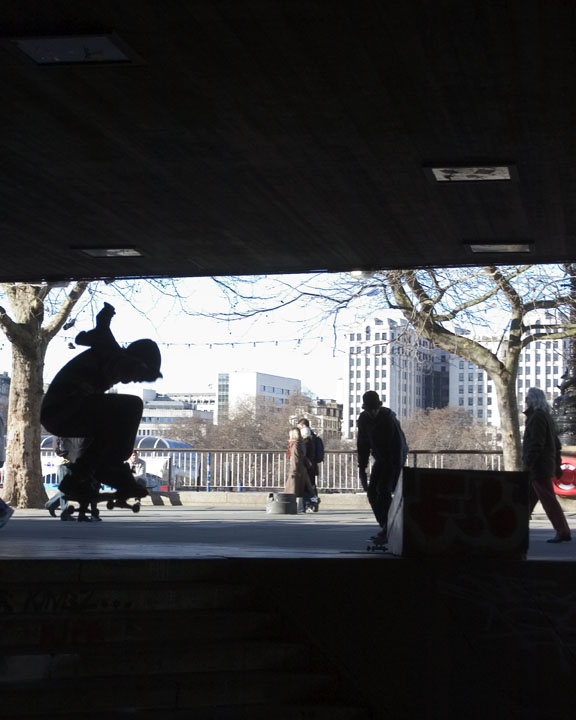 Skateboarding on the Southbank in London