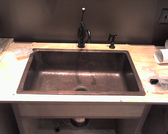 Main Copper Kitchen Sink Installed In Temporary Countertop