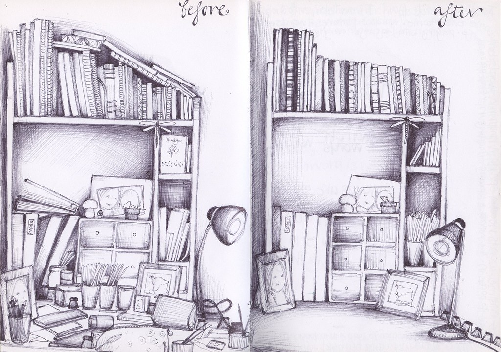 Untidytidy my desk before and after a tidy up sketchbook flickr untidytidy by andrea josephs illustrations gumiabroncs Image collections