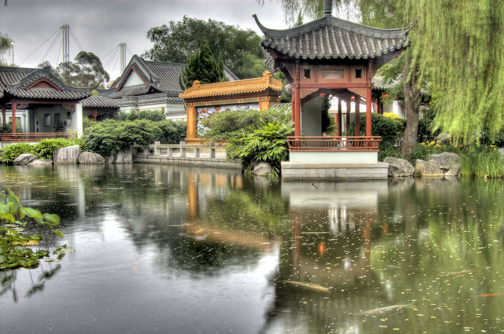 Chinese garden pagoda and koi pond chinese garden for Koi fish pond sydney