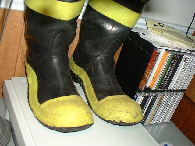firefighter heavy rubber hip boots big toe flickr