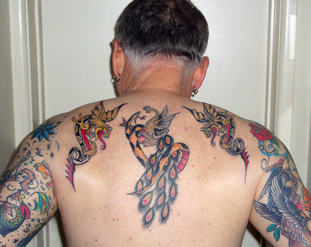 2 dragons peacock and snake tattoos here 39 s a shot of my for Tom and jerry tattoo