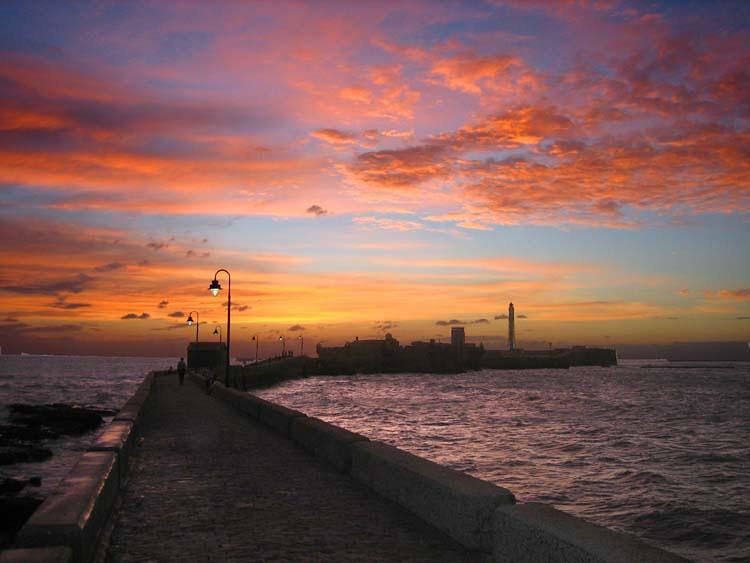 Spain Cadiz Sunset Spain Sunset Over The Bay Of Cadiz