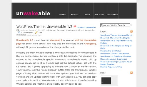 WordPress Theme Unwakeable | by tlongren