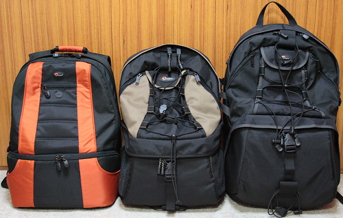 Three Lowepro's 2 or 3 compartment backpacks (Front) | by double-h