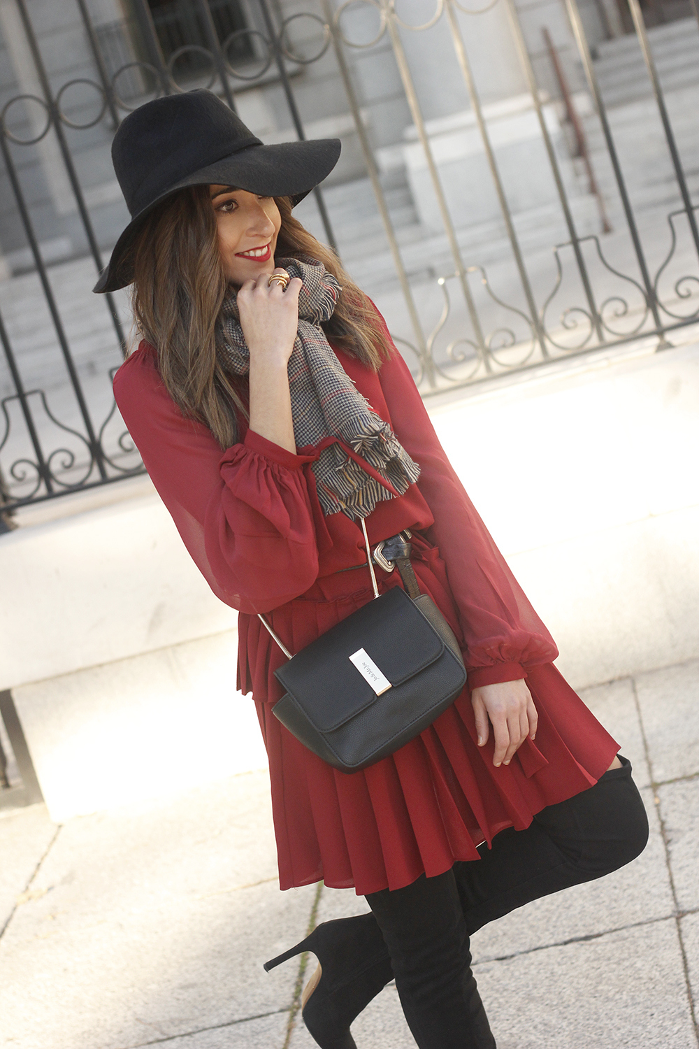 red dress black hat scarf over the knee boots Autumn essentials outfit style fashion fall06
