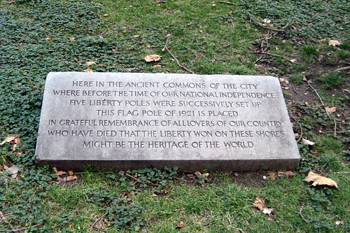 NYC - Civic Center: Nathan Hale City Hall Park - Liberty Flag Pole marker | by wallyg