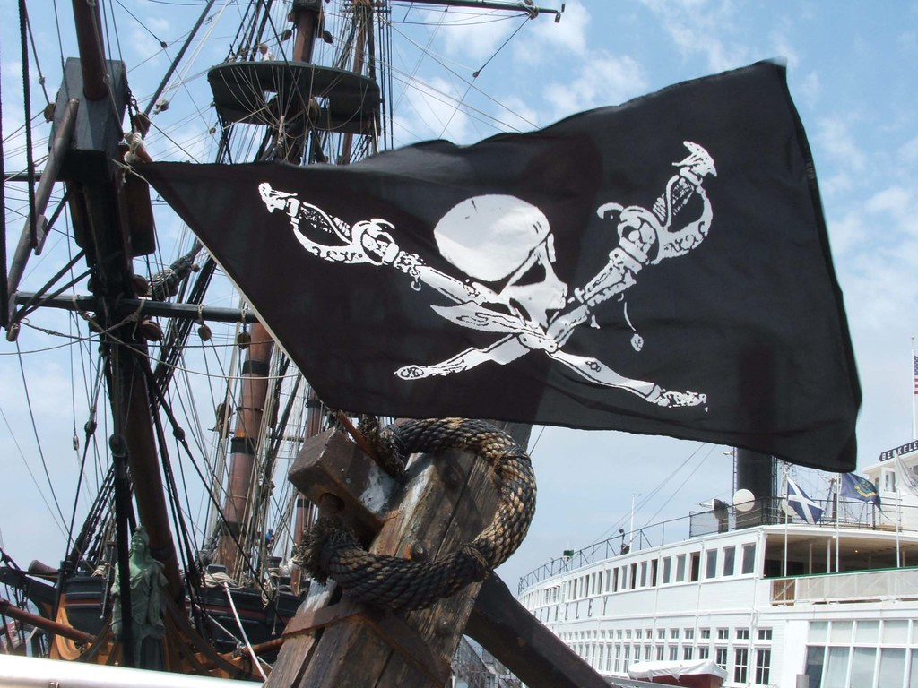 Pirate Flag Waving Waving Pirate Flag by