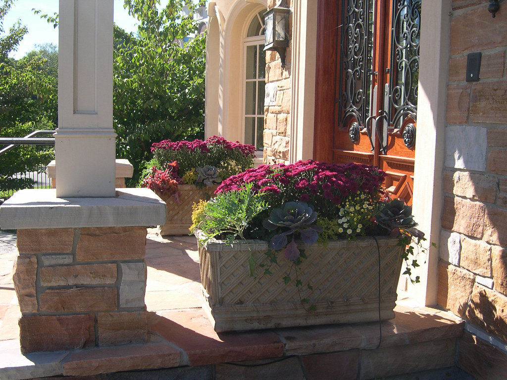 Colourful fall planters by front door bel air dr 1 flickr - Good plants for home ...