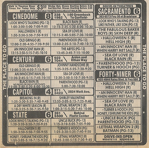 Sacramento Movie Advertisment Oct 1989 | by johntodd