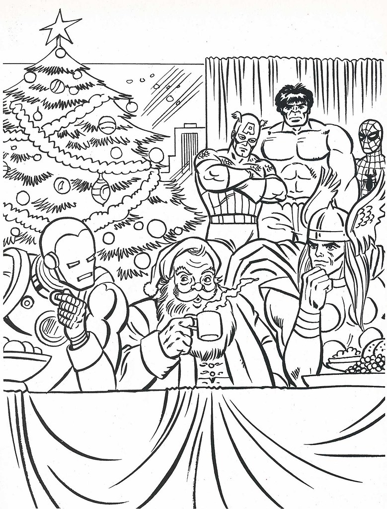Avengers Christmas Coloring Pages : The marvel super heroes christmas coloring book page flickr
