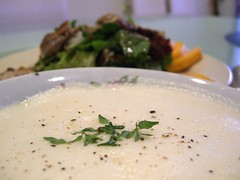 Avgolemono Soup and Grilled Chicken and Mango Salad | by avlxyz