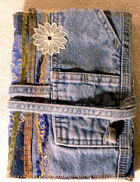 Book Cover White Jeans ~ Journal with recycled jeans cover i used a pair of old