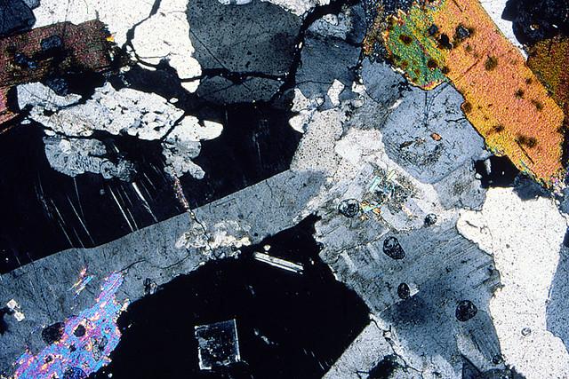 Granite Vue Au Microscope Polarisant D Une Lame Mince De