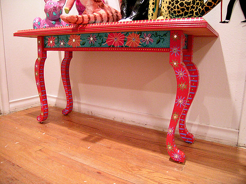 Painted table by patti haskins laying on the floor view - Sofas antiguos de madera ...