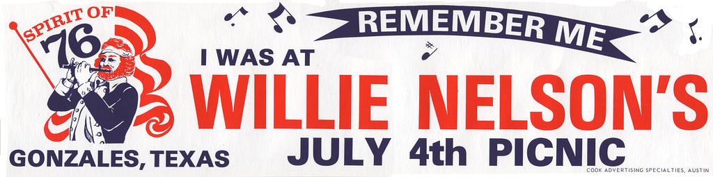 Willie Nelson's July 4th Picnic bumper sticker - 1976