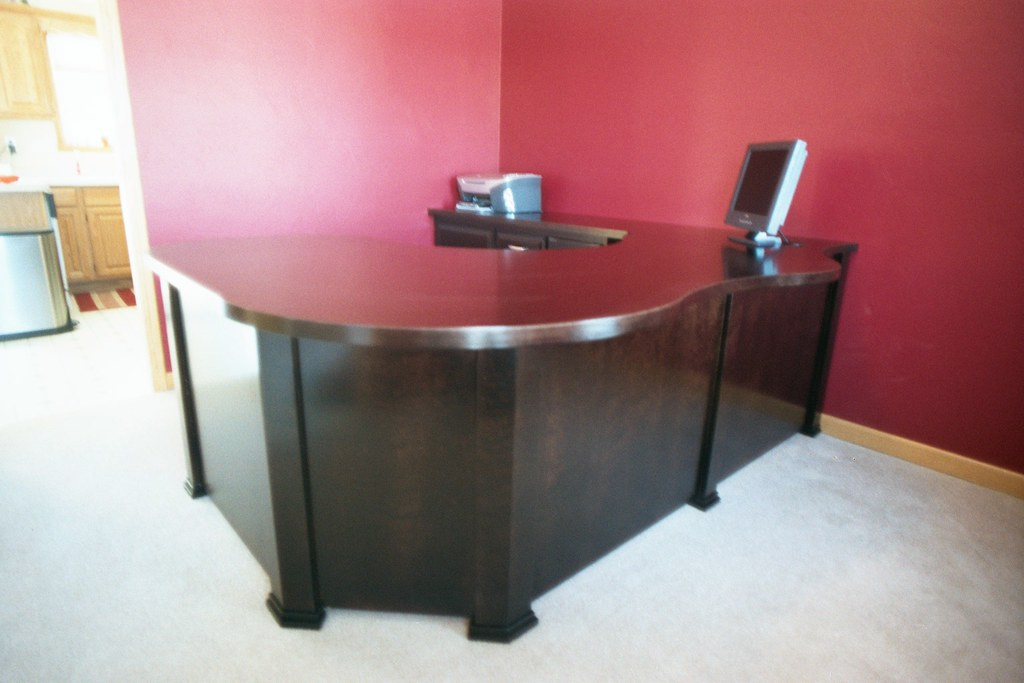 Office Desk Front view | -Black paint, with clear finish ...