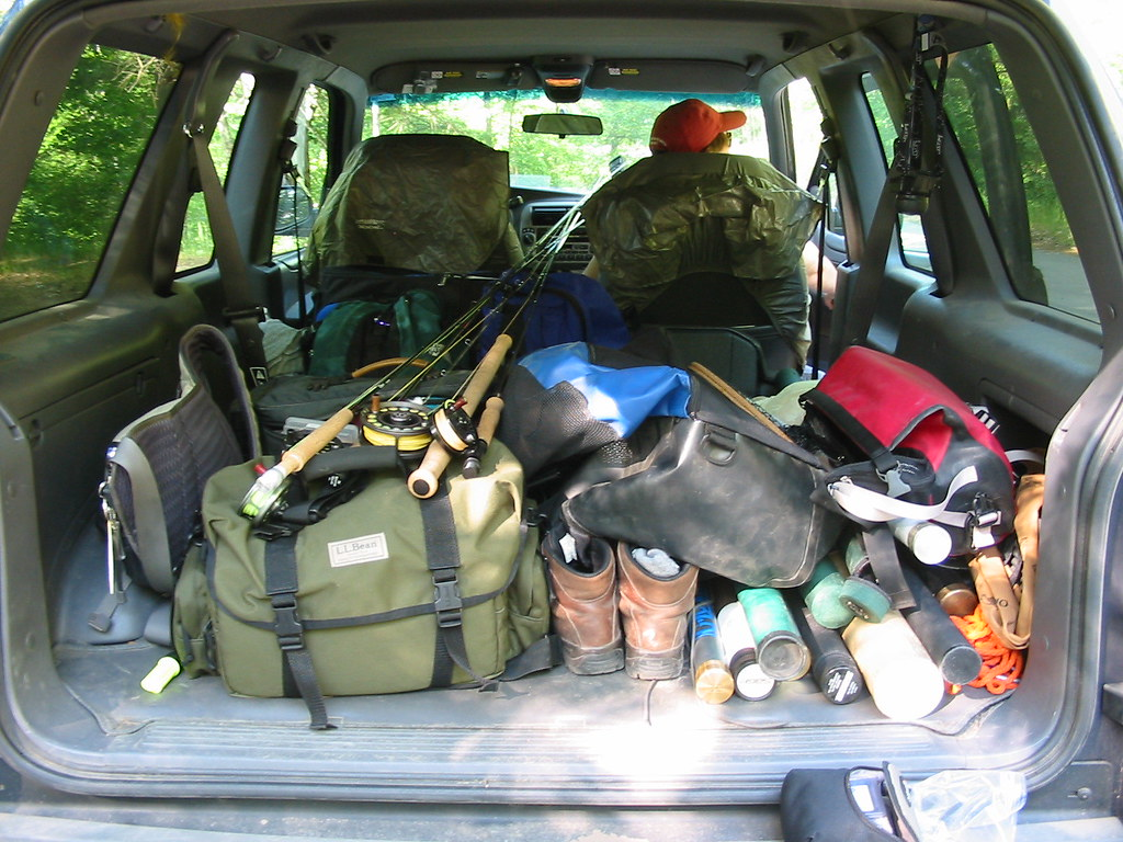 Car full o 39 fly fishing gear the back of the car became for Truck fishing accessories
