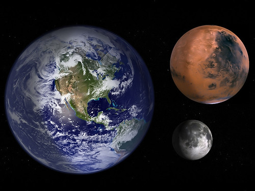 Earth Mars and Moon to scale | Earth Mars and Moon to ...