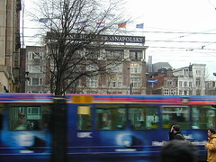 Moving bus and the Hotel Krasnapolsky | by scriptingnews