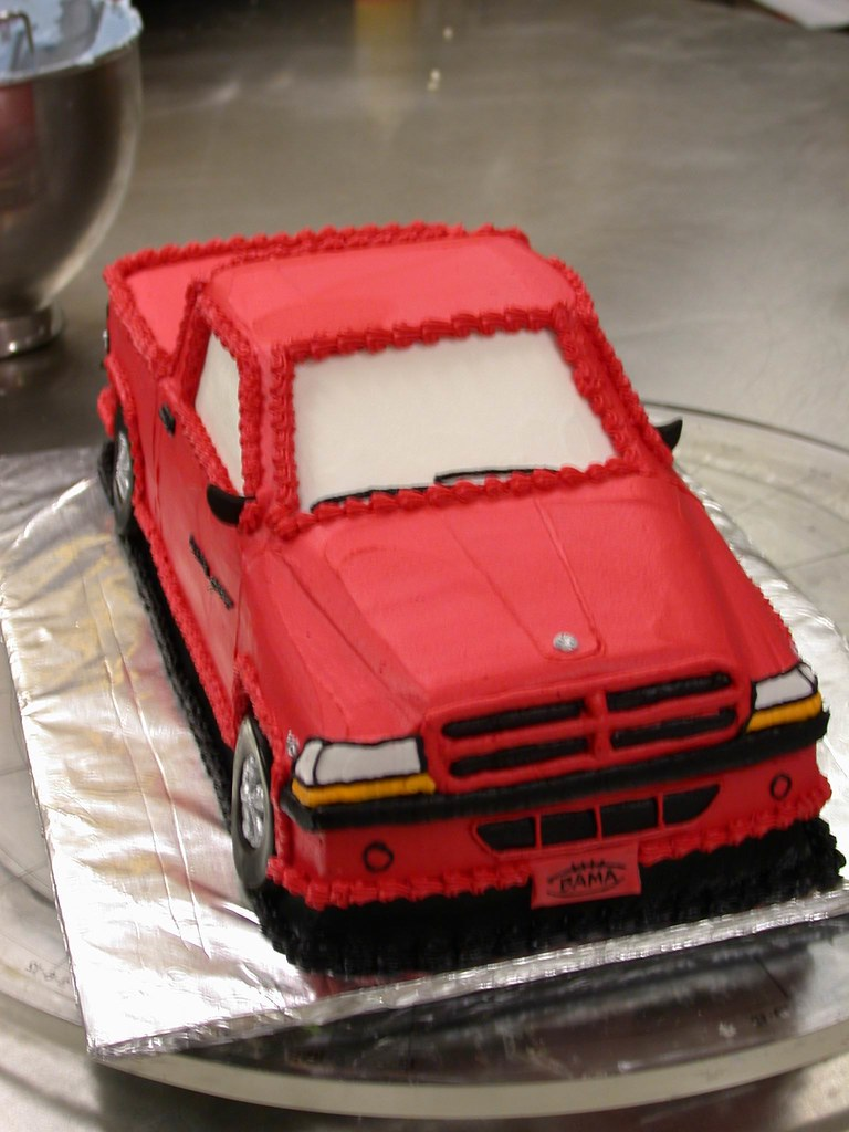 Grooms Cake Red Dodge Truck Front View Closeup Ta Dah