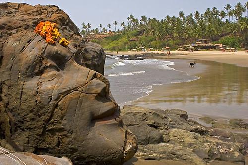 Rock carving on vagator beach goa india