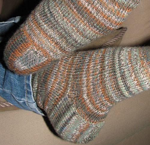 Heel Closeup on Winter Socks The stockinette