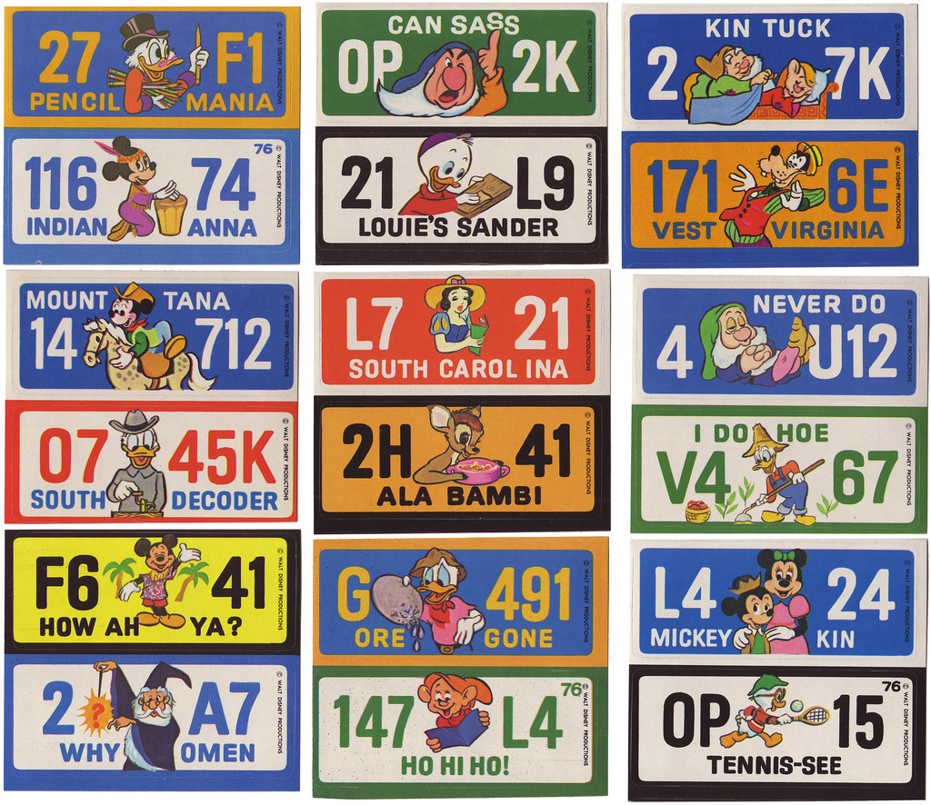 1976 Wonder Bread Disney License Plates Stickers 1 Of 3