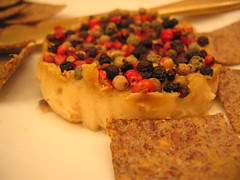 raw cashew_cheese with peppercorns and flax_seed_crackers | by tofu666