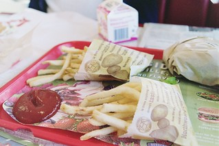 fries, ketchup, double cheeseburger and milk at burgerville | by cafemama