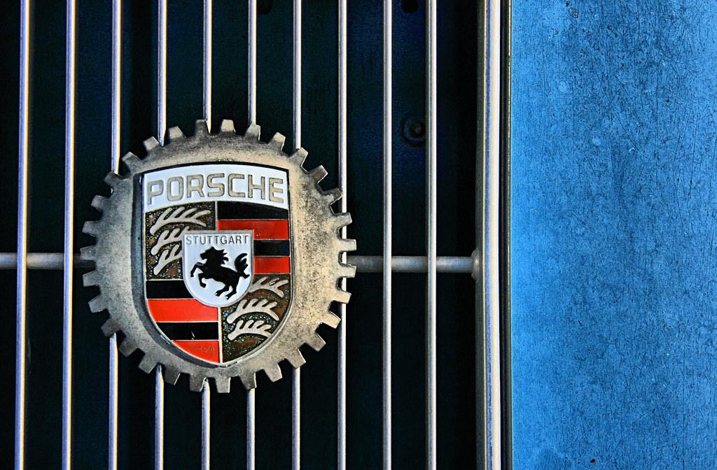 Porsch A Made In Stuttgart The Rear Emblem Of A
