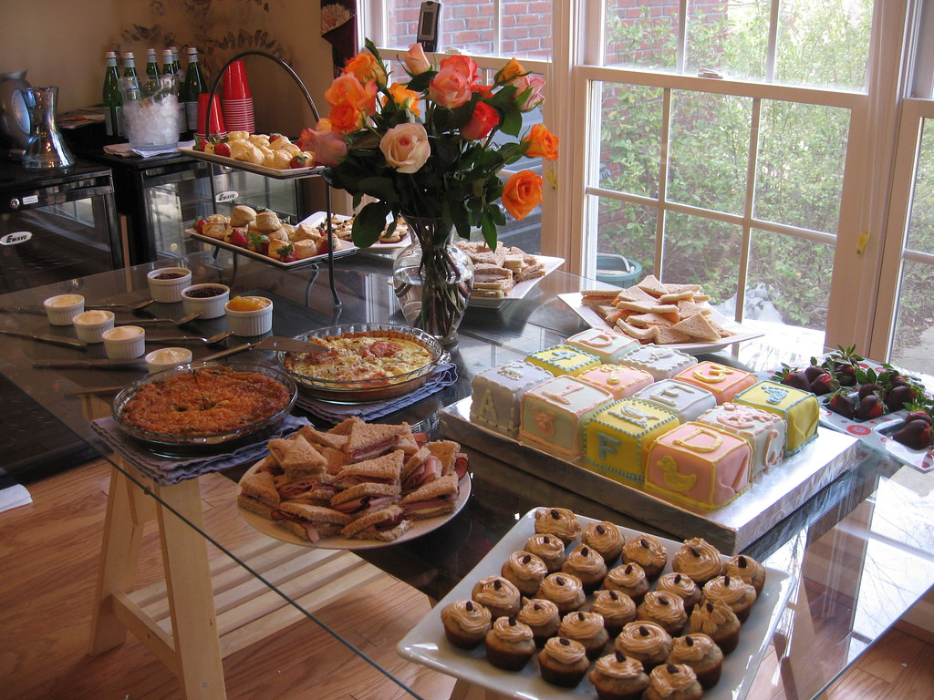 Baby Shower Food Table & Desserts | The food spread for my f… | Flickr