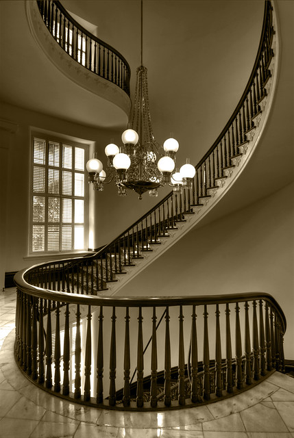 spiral staircase sepia the stairs in this shot represent t flickr. Black Bedroom Furniture Sets. Home Design Ideas