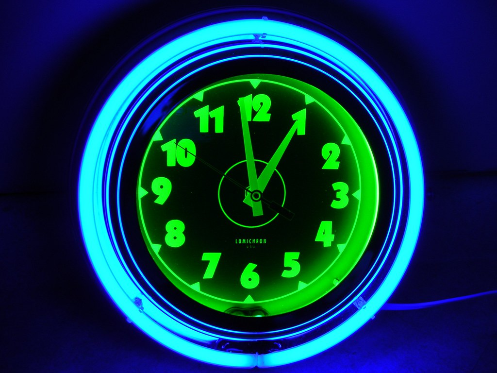 Lumichron neon wall clock