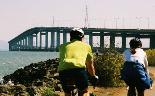 bicyclists, Bay Trail, and bridge, Foster City, August 6, 2006 | by /\/\ichael Patric|{