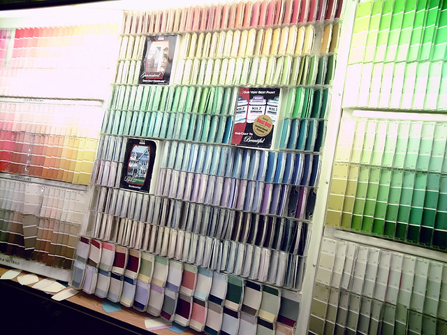 wall of paint swatches