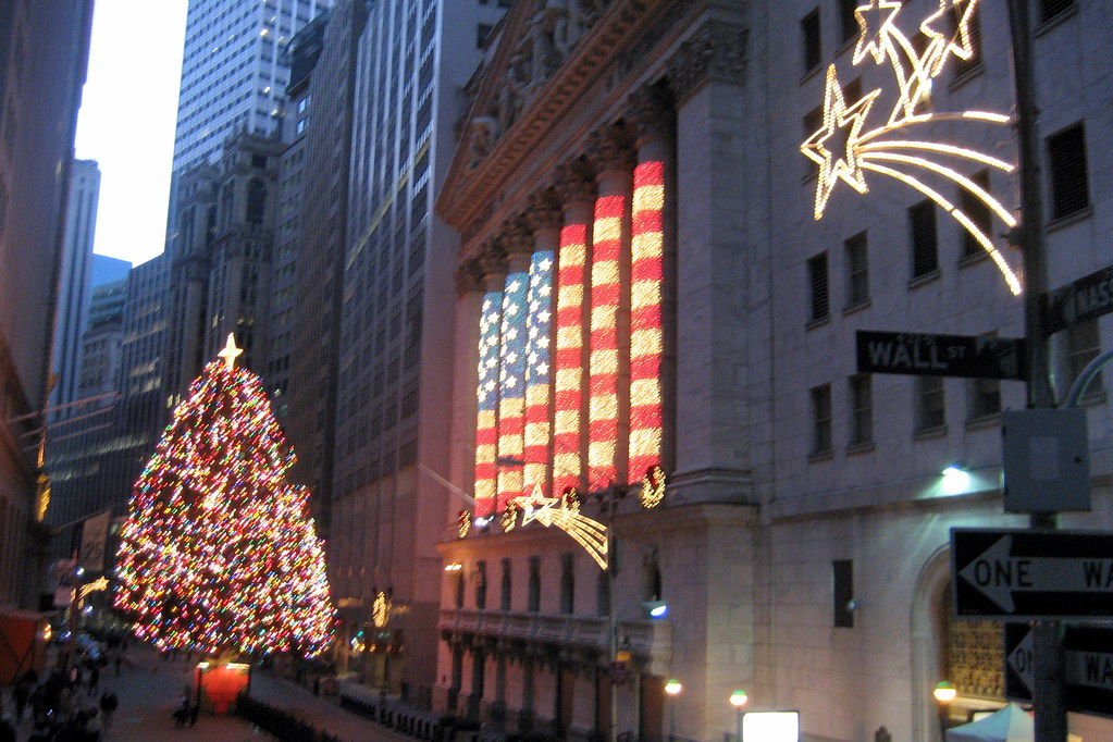Nyc Financial District Nyse Christmas Lights The