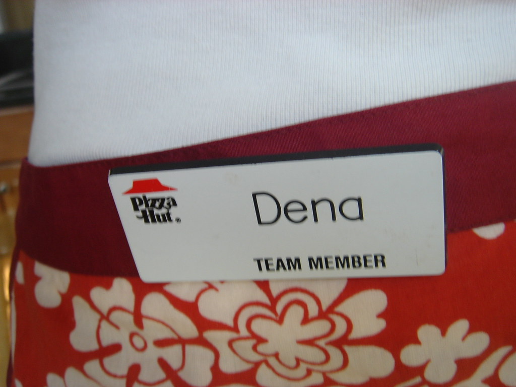 My Pizza Hut Name Tag On My Apron For More Visit Www Sydde Flickr