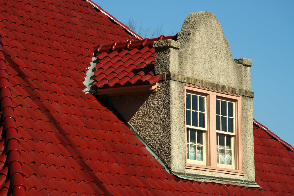 Red spanish tile roof red spanish tile roof with dormer for Spanish tile roofs