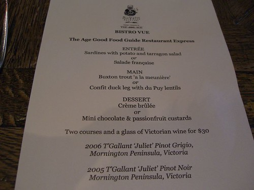 The age good food guide express lunch menu bistro vue for Age cuisine express