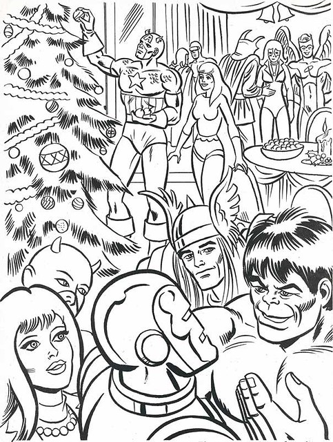 the marvel super heroes christmas coloring book page by neato coolville - Marvel Coloring Book