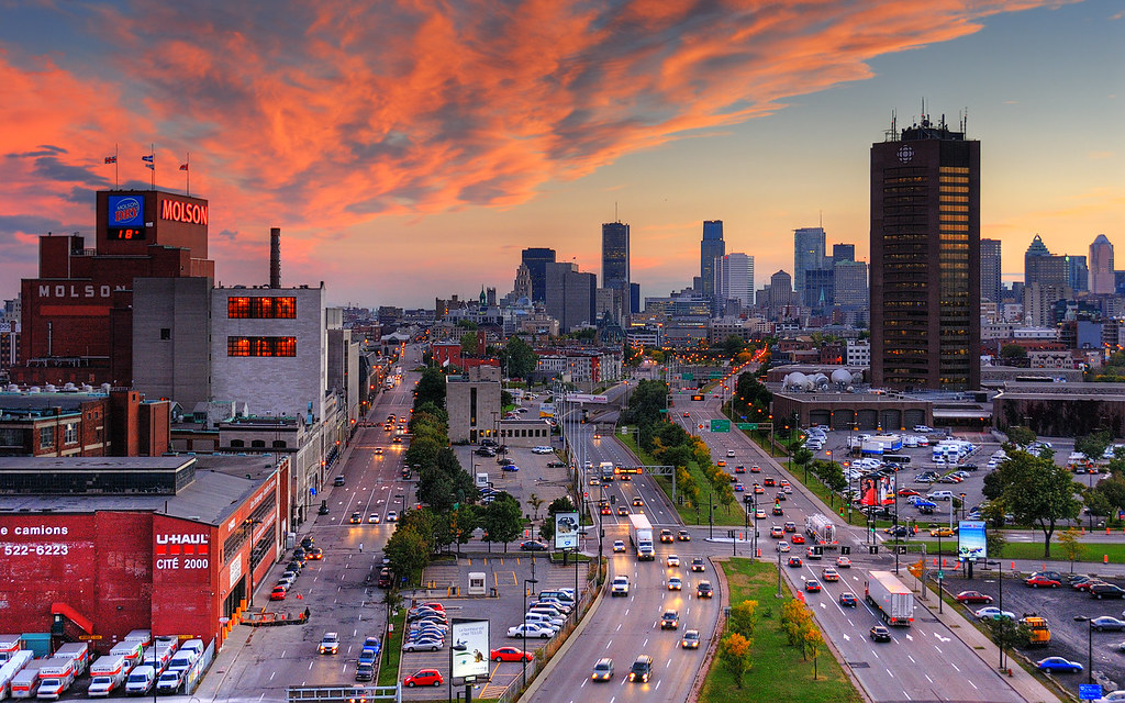 Sunset on cbc montreal skyline flickr - Coucher de soleil montreal ...