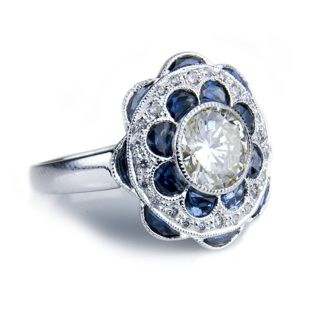 edwardian style sapphire and flower engagement