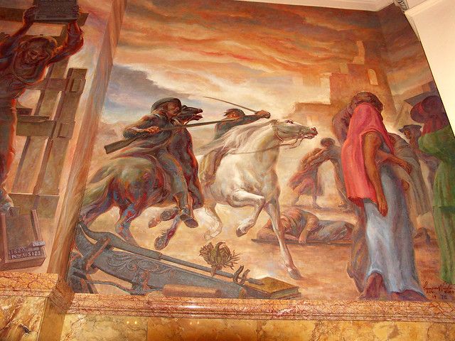 Sacking of Lawrence by Slave Forces - Mural in Kansas Stat ... Sack Of Lawrence 1856